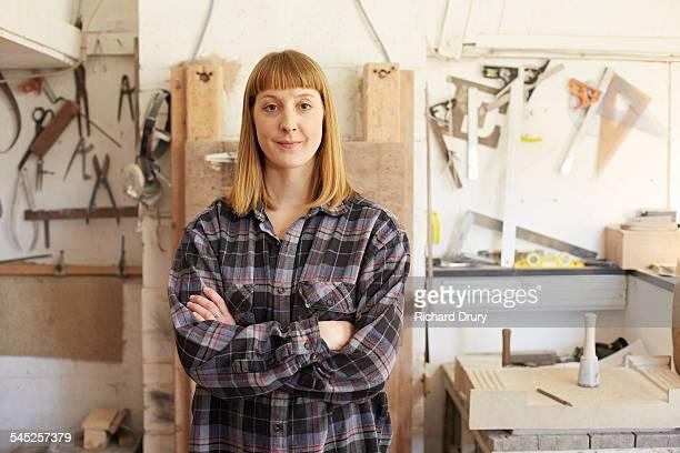 Stone carver in her workshop