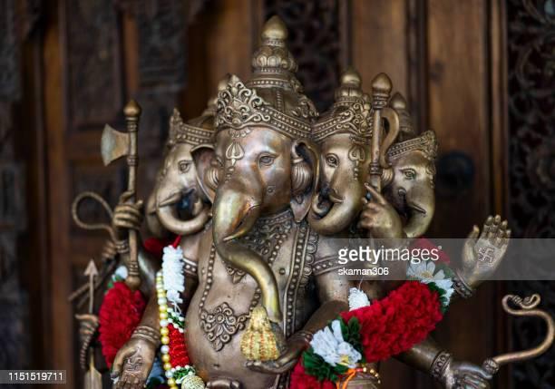 stone carving ganesha hindu god god of success - ganesh chaturthi stock photos and pictures