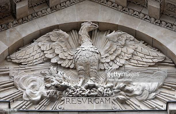 A stone carving of a phoenix with repaired broken broken beak following resoration and cleaning of stonework on St Paul's Cathedral on July 5 2007 in...