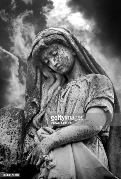 stone carving of madona virgin mary,st.michael cemetery, pensecola, florida, usa - madona stock photos and pictures
