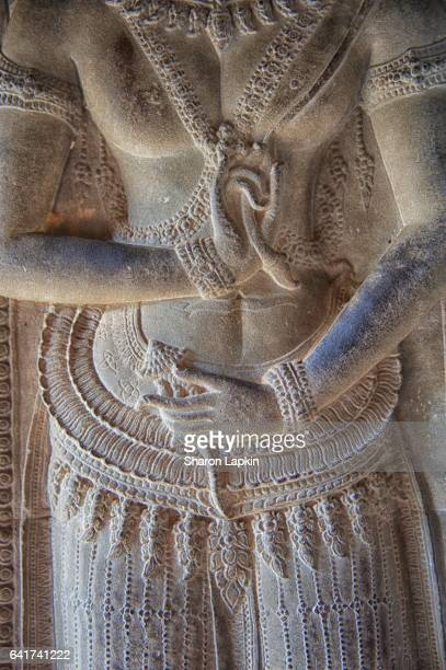 stone carvings at angkor wat - apsara stock photos and pictures