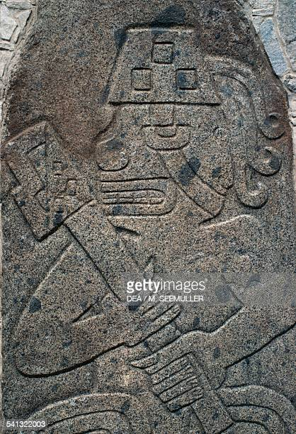 Stone carvings depicting a warriorpriest archaeological site of Cerro Sechin Andean Highlands Peru Chavin Culture 10th3rd century BC