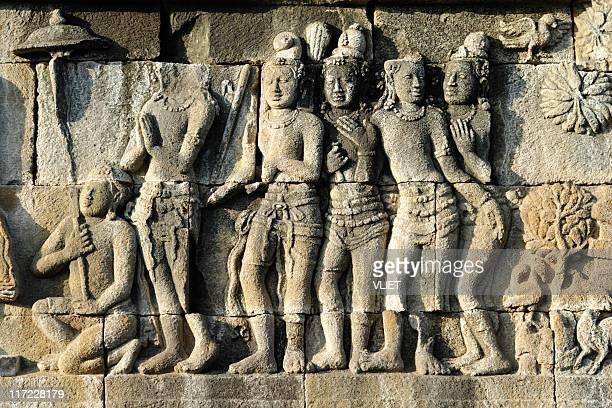 Stone carvings of Borobudur temple in Indonesia