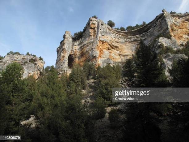 A stone cliff in the canyon of Rio Lobos the Nature Park Lobos River Canyon is a protected natural area between the provinces of Burgos and Soria the...