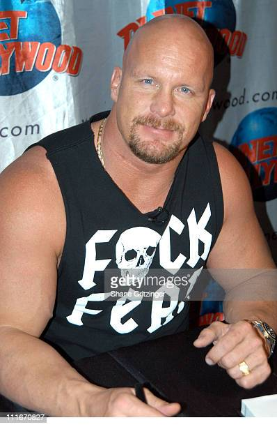 Stone Cold Steve Austin during Stone Cold Steve Austin signs copies of his new book ' The Stone Cold Truth' at Planet Hollywood Times Square in New...