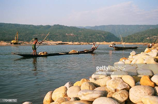 Stone collection in Mari River in Jaflong Bangladesh The Mari river coming from the Himalayas of India brings million tons of boulders with its tide...