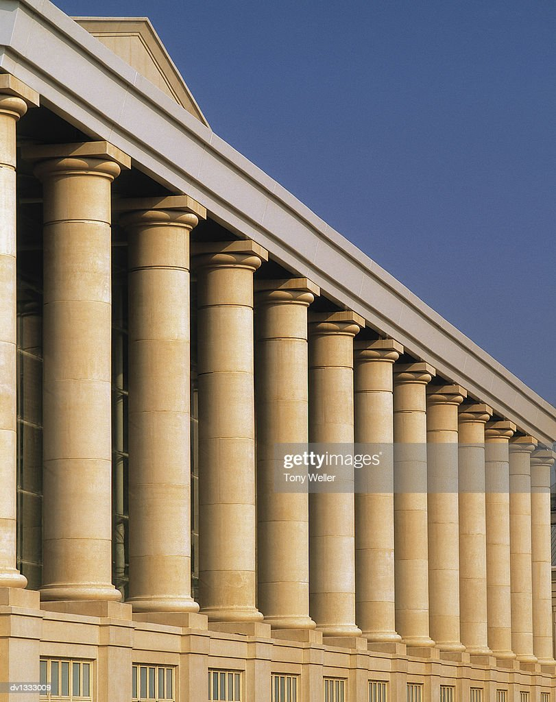 Stone Columns of a Building's Exterior : Stock Photo