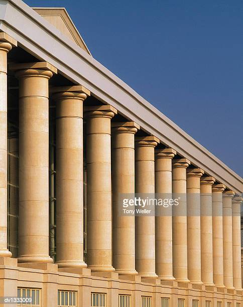 stone columns of a building's exterior - neo classical stock pictures, royalty-free photos & images