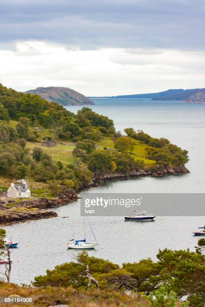 Stone cottage at Lochmore, Loch More, Sutherland, Scotland, Great Britain