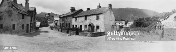 Stone cottages in the village of Braithwaite in the Lake District Cumbria circa 1910