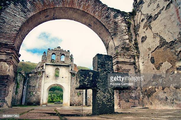 Stone Cross at Ruins of the Church of Ujarras in the Orosi Valley, Costa Rica