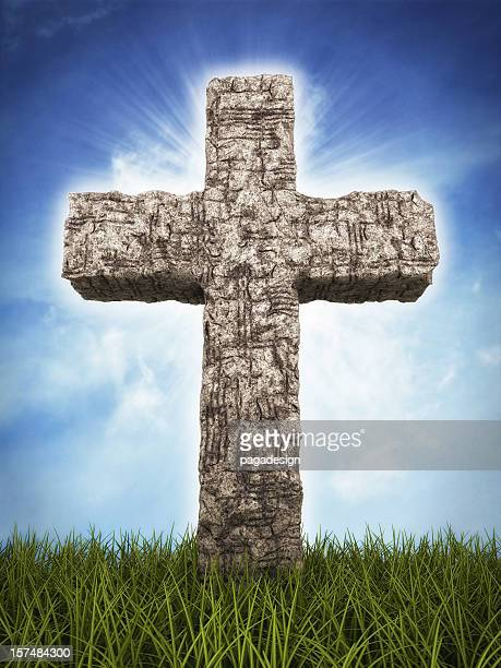 stone cross on horizont