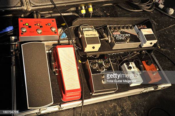 Stone Deaf parametric filter and RC Exotic pedals on stage at the Bristol O2 Academy on April 6 2011
