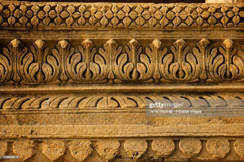 Stone decoration on Jain temple, Amar Sagar, India : Stock Photo