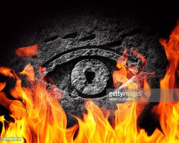 stone eye fire - flame logo stock pictures, royalty-free photos & images