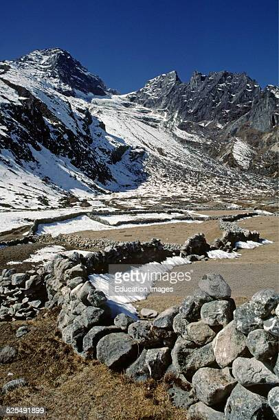 Stone Fences and Himalayan Peaks In The Gokyo Valley Khumbu District Nepal