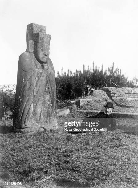Stone figure at Royal Tomb Japan 1895 Photo by Isabella Lucy Bishop /Royal Geographical Society via Getty Images