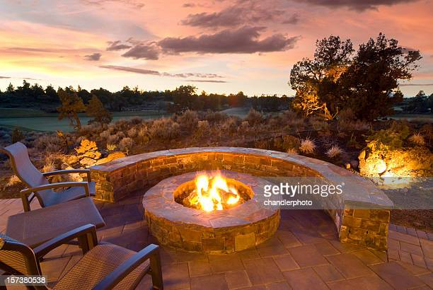 stone fire pit - fire pit stock pictures, royalty-free photos & images