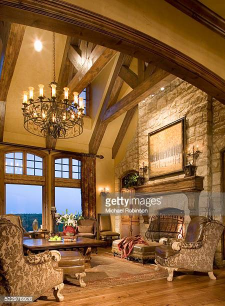 stone fireplace in living room - image stock pictures, royalty-free photos & images