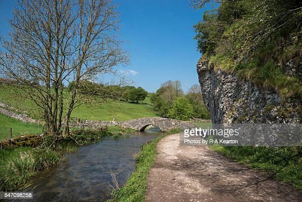 Stone footbridge in Bradford Dale, Derbyshire