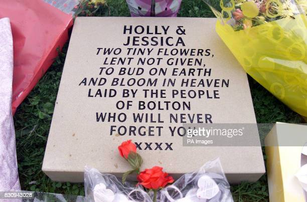 A stone from the people of Bolton in memory of Holly Wells and Jessica Chapman left in the graveyard of St Andrew's Church in Soham Cambs