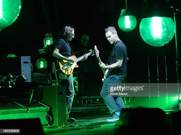 Stone Gossard and Jeff Ament of Pearl Jam perform at Barclays Center of Brooklyn on October 18 2013 in New York City
