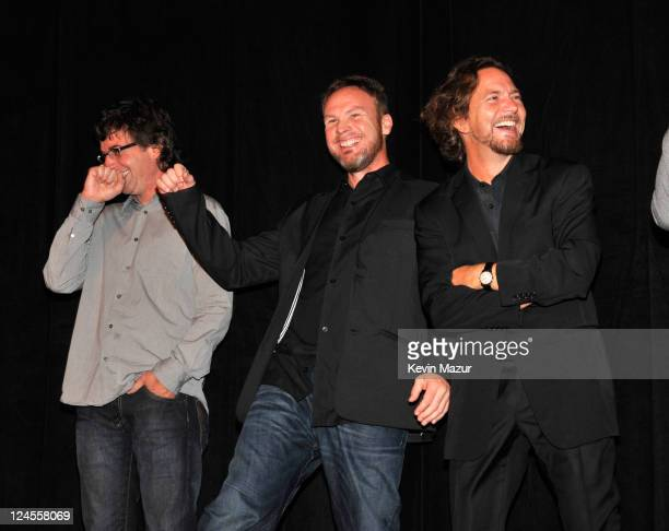 Stone Gossard Jeff Ament and Eddie Vedder of Pearl Jam attend the Pearl Jam Twenty premiere at the Princess of Wales Theatre during the 2011 Toronto...