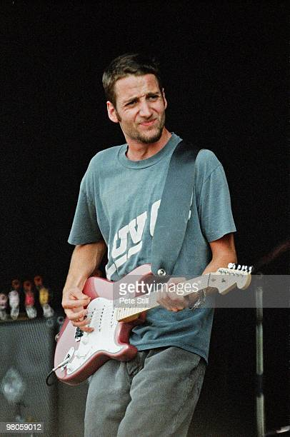 Stone Gossard of Pearl Jam performs on stage in Finsbury Park on July 11th 1993 in London England He plays a Fender Stratocaster guitar