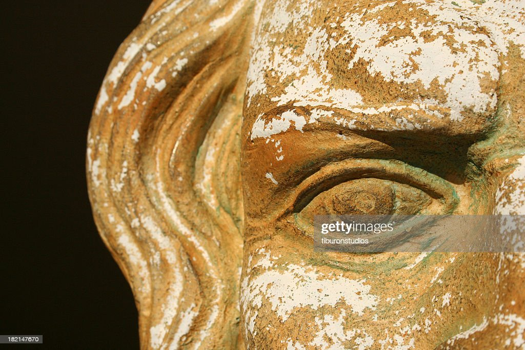 Stone Greek Zeus Mask Detail Vision into the past : Stock Photo