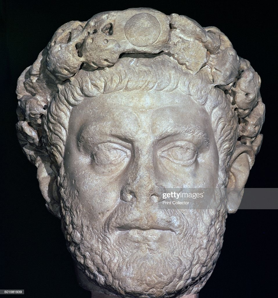 Stone head of Diocletian, 3rd century. : News Photo