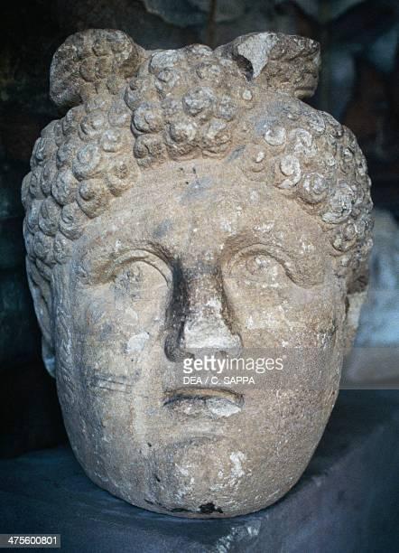 Stone head Petra Jordan Nabatean civilisation 6th century BC 2nd century AD Petra archaeological museum Petra Museo Nabateo