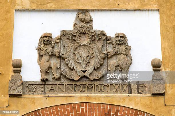 Stone heraldic shield above entrance to the fort area of historic town of Galle Sri Lanka Asia