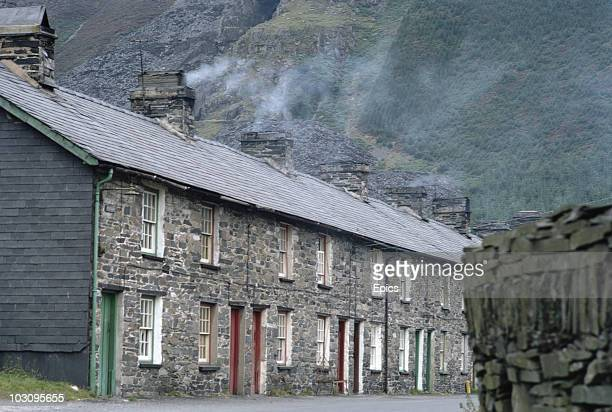 Stone houses at the slate quarry of Dinorwic Llanberris Caernarvonshire September 1969 The quarry was the second largest quarry in the World but shut...