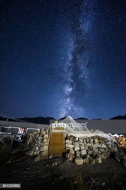 Stone hut and the milky way at Pangong lake in Leh Ladakh, India.