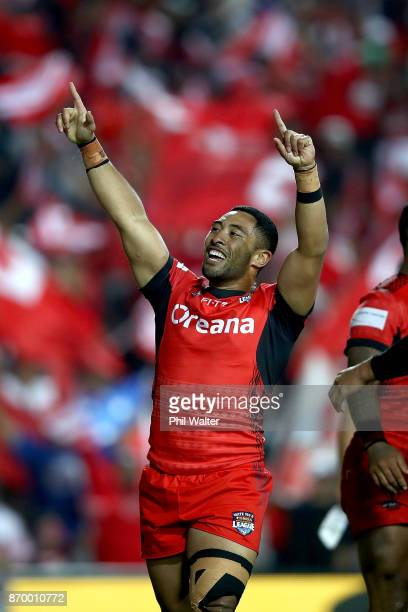 Stone Katoa of Tonga celebrates during the 2017 Rugby League World Cup match between Samoa and Tonga at Waikato Stadium on November 4 2017 in...