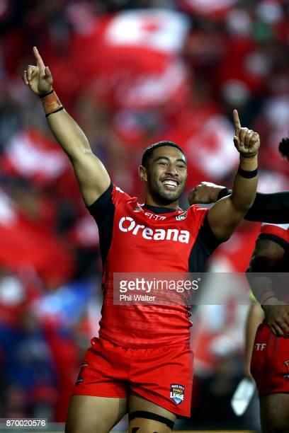 Stone Katoa of Tonga celebrates during the 2017 Rugby League World Cup match between Samoa and Tonga at Waikato Stadium on November 4 2017 in...