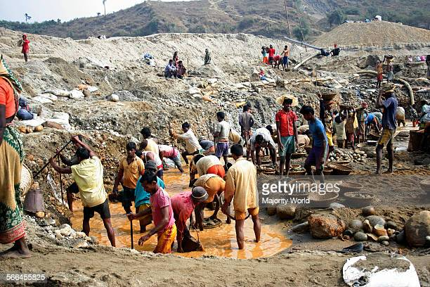 Stone labourers at work on the bank of Dauki River in Sylhet Bangladesh January 19 2010 The river coming from the Himalaya Mountains in India brings...