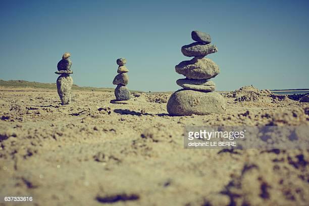 Stone land art at the beach