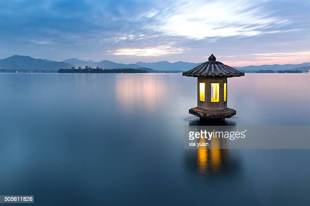 A stone lantern on the West Lake,Hangzhou