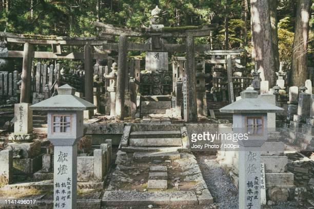 stone lanterns and torii gates of mount koya temple - koyasan stock-fotos und bilder