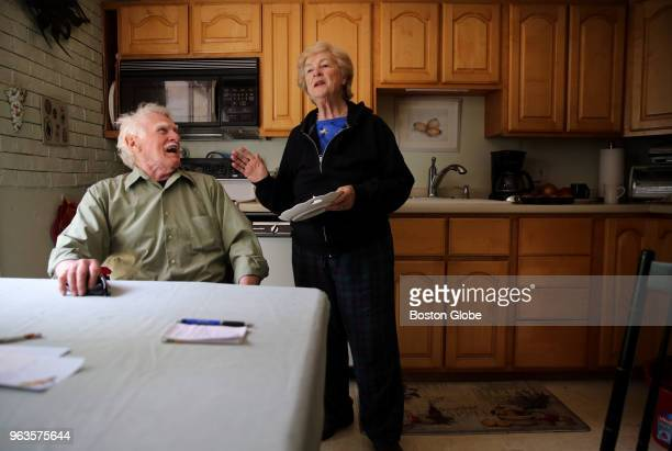 Stone mason Bill Doherty shares a laugh with Ann Marie Sullivan his partner of 20years at their home in Westwood MA on May 18 2018 While many his age...