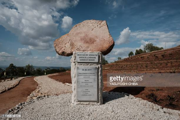 TOPSHOT A stone monument is seen after the inauguration of the Garden of Memory as the part of the 25th Commemoration of the 1994 Genocide at Nyanza...
