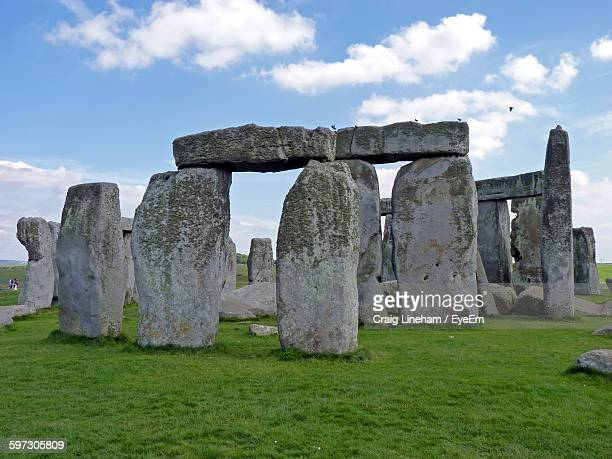 Stone Monuments At Stonehenge Against Sky