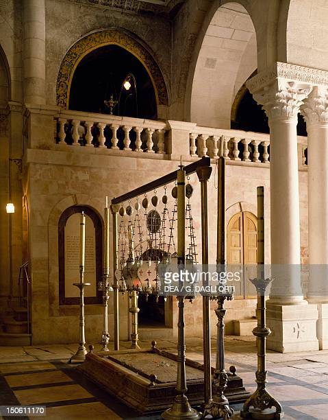 Stone of the Anointing where Jesus' body was prepared for burial Basilica of the Holy Sepulchre or the Church of the Resurrection Old City of...