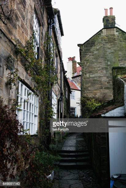 A stone path leads between homes in Robin Hood's Bay on the North Yorkshire coast on March 8 2017 in Robin Hood's Bay United Kingdom Robin Hood's Bay...