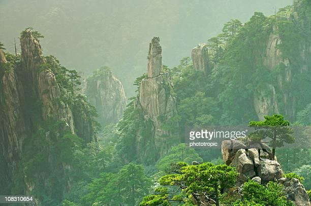 stone pillars of huangshan - lotus flower peak stock pictures, royalty-free photos & images