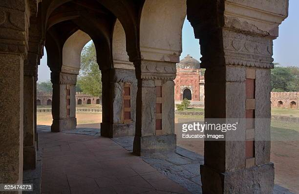 Stone Pillars Support The Tomb Of Isa Khan On The Grounds Of Humayuns Tomb, New Delhi, India.