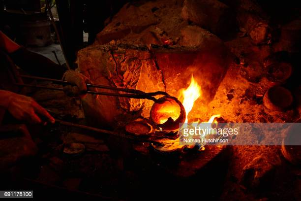 "Stone Polished Bronze-ware making ""Khan Long Hin"" in Ban Bu Bangkok Thailand"