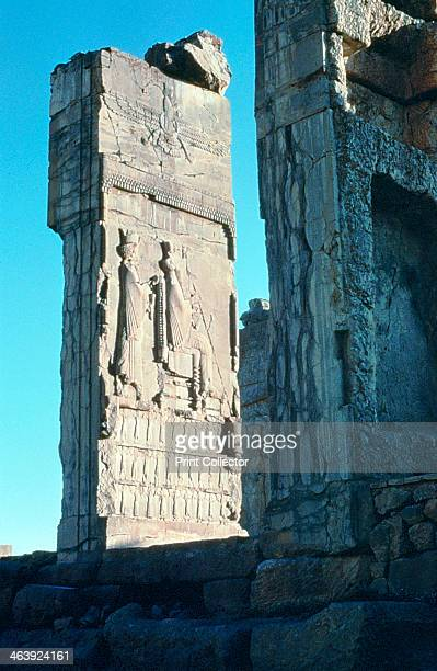 Stone relief from the doorway to the Hall of 100 Columns, Persepolis, South Iran, c500 BC. Relief carving from the Palace of Darius I , Achaemenid...