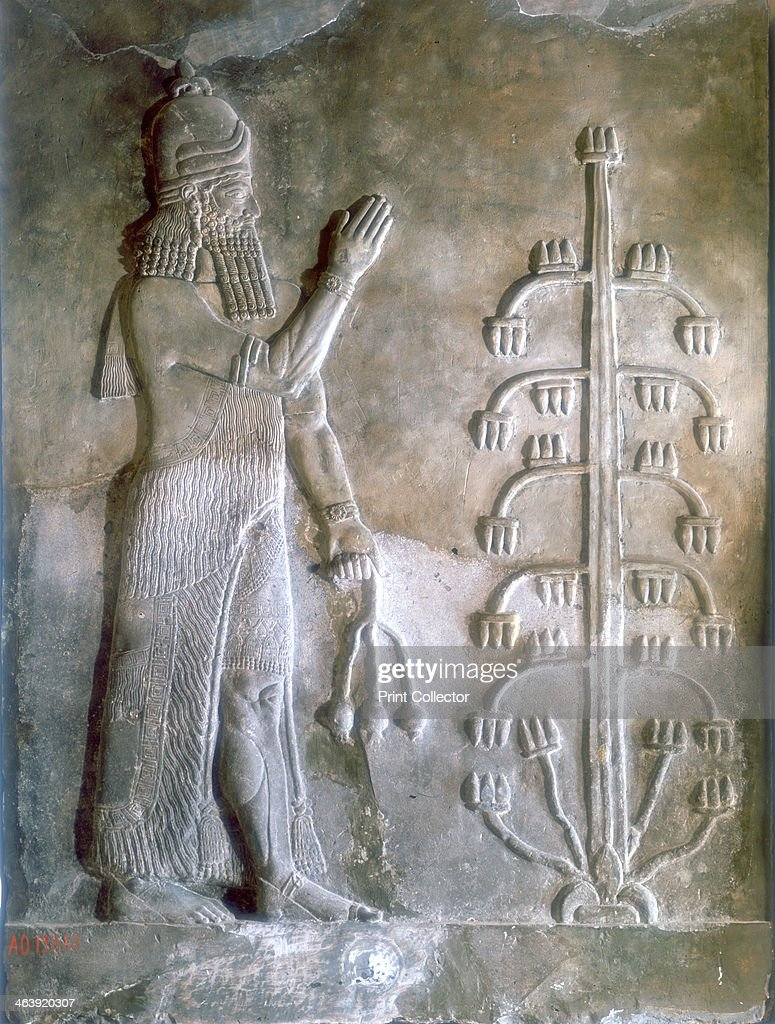 Stone relief of Sargon I standing before a tree of life, 24th-23rd century BC. Artist: Anon : News Photo